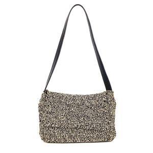 NINE WEST Women Crochet Shoulder Bag B&W Flap Zip